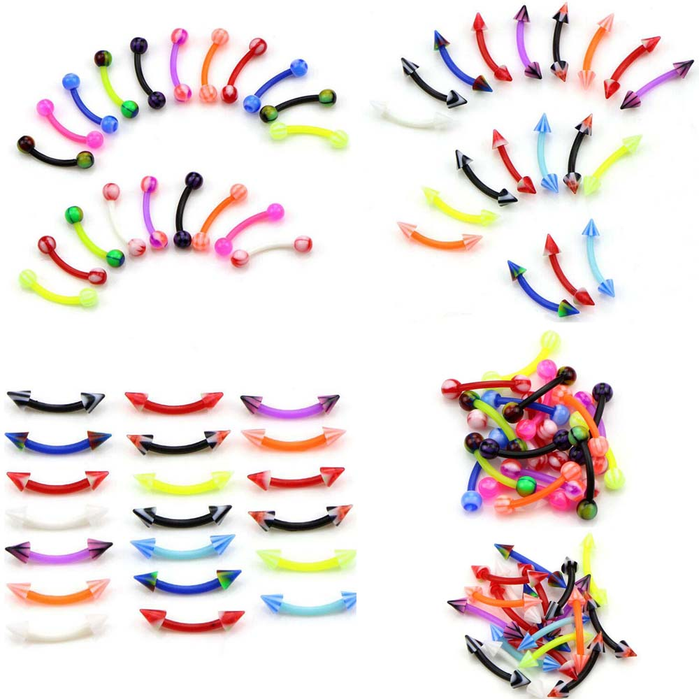 Wholesale 10Pcs Acrylic Curved Barbell Ball Eyebrow Rings Body Bar Cartilage Tragus Piercing Sexy Women Accessories Body Jewelry