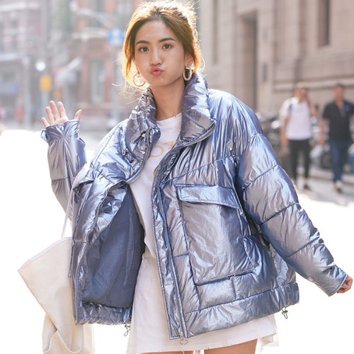 2019 Winter New Arrival Women Bright Bread Down Jacket And Coat   Parkas   Fashion Oversize Loose Designer Silver Pink Coats Clothes