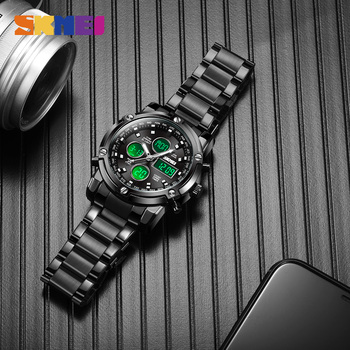 2020 SKMEI Luxury Men Quartz Digital Dual Display Watch Waterproof Male Wristwatch Stop Watch Sport Watches Relogio Masculino skmei 1016 men sport watch dual display wristwatches relogio masculino top luxury brand men s quartz watches 5bar waterproof