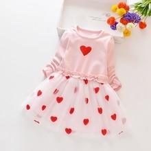 Spring Autumn Girl Dress 1-8 Years Baby Kids Girls Heart Print Long Sleeve Dress Sweet Cotton Comfortable Toddler Mesh Dresses цена 2017