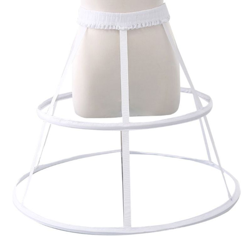 Wedding Bridal Crinoline Underskirt Women Girls Elastic Waistband Adjustable Pannier Petticoat 2 Hoop Cage Skirt