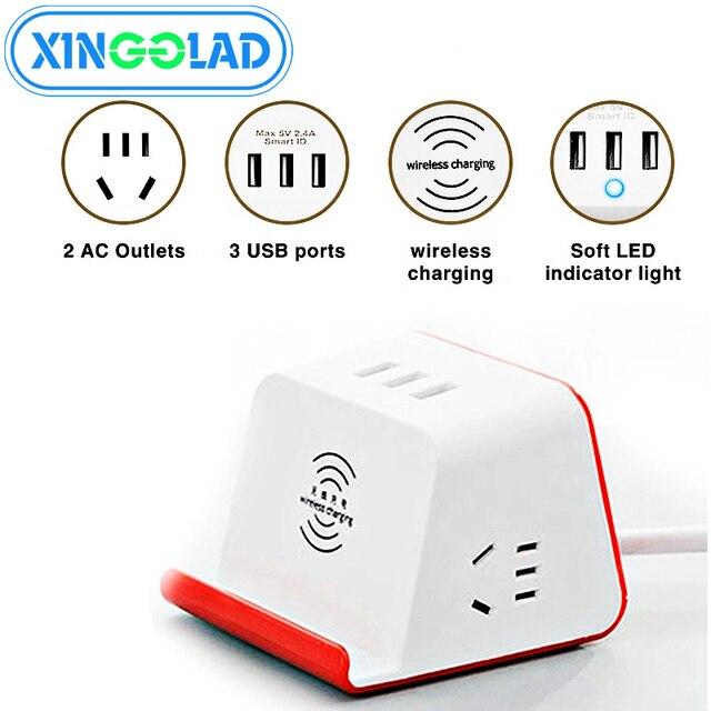 רב מפצל חשמל חכם עם טלפון אלחוטי מטען 3 USB טעינה 2 AC לשקע שולחן העבודה שקע מתג שולחנות 1.5M כבל AU Plug