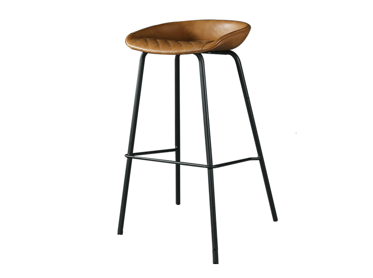 LOFT Industrial Style Iron Bar Chair Personality Bar Chair Simple Home Metal Retro High Stool Leather Dining Chair