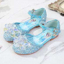 Детская кожаная обувь принцессы для девочек; Повседневная блестящая детская обувь на низком каблуке для девочек; Цвет синий, розовый, серебристый; Обувь для вечеринки в стиле Эльзы