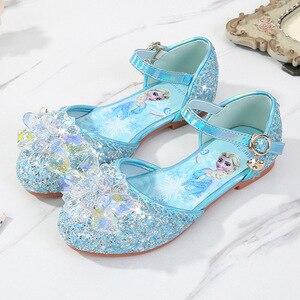 Image 1 - Prinses Kinderen Leren Schoenen Voor Meisjes Casual Glitter Kinderen Lage Hak Meisjes Schoenen Blauw Roze Zilver Elsa Party Schoen
