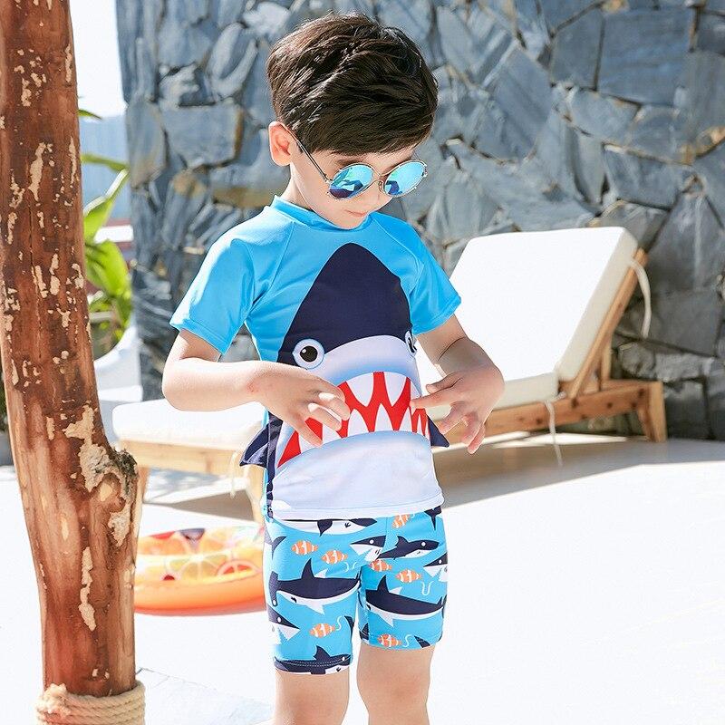 2019 New Style BOY'S Swimsuit Da Zui Sha Fish Cute CHILDREN'S Swimsuit Hot Springs Split Type Two Piece Set Boxer Children