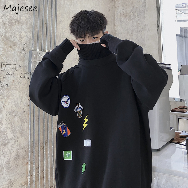Men Hoodies Super Size Soft All-match Thickening Streetwear Korean Chic Oversize Sweatshirts Mens Warm Pullovers Ulzzang Cratoon