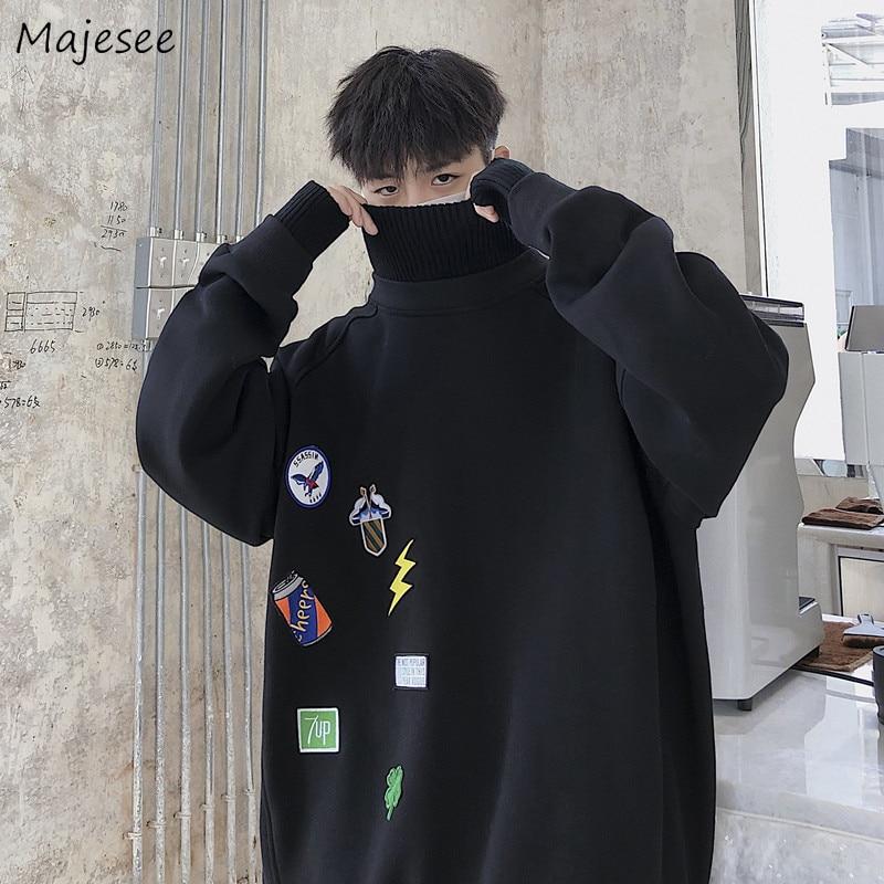 Men Hoodies Super Size Soft All-match Thickening Streetwear Korean Chic Oversize Sweatshirts Mens Warm Pullovers Ulzzang Cratoon