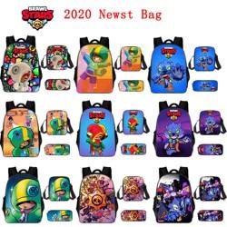 BrawlING Large capacity 3D Stars nylon waterproof backpack set anime character double gun reward children backpack computer bag
