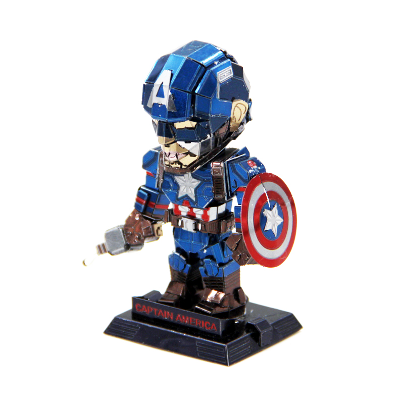 3D DIY Metal Puzzle Model Mini Captain America Laser Cutting Jigsaw Gifts For Lover Friends Children Collection Educational Toys