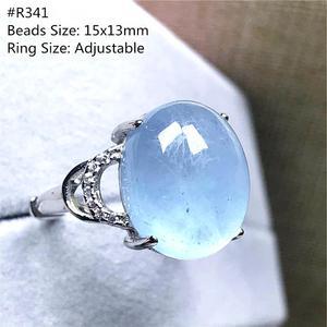 Image 4 - Véritable naturel océan bleu aigue marine bague bijoux pour femme homme cristal clair ovale perles argent pierre gemme réglable anneau AAAAA