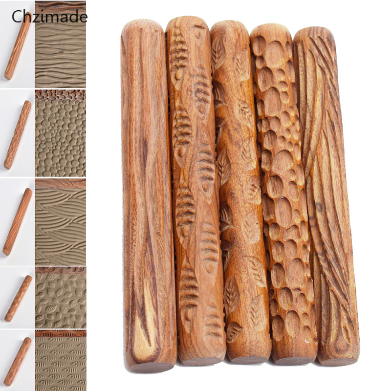 Lychee Life Pottery Clay Tools Wood Texture Rolling Pin Embossing Stick Bubble Fish Leaf Wave Pattern Ceramic Clay Tools