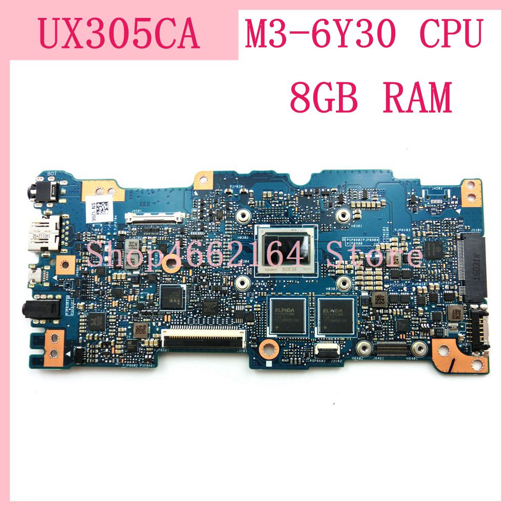 UX305CA mainboard M3 6Y30 CPU 8GB RAM REV 2.0 For ASUS UX305C UX305CA Zenbook motherboard 90NB0AA0 R00040 Tested OK-in Laptop Motherboard from Computer & Office