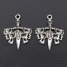 WKOUD 6pcs Antique Silver Dagger Crosses Pendant Vintage Charm Double Dragon Charms Metal Ornament 38*30mm A583