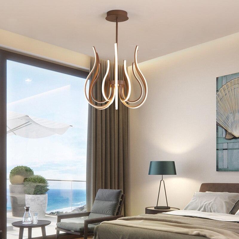 Креативная люстра в скандинавском стиле может использоваться в гостиной, столовой, спальне, лестницах, коричневая/алюминиевая современная