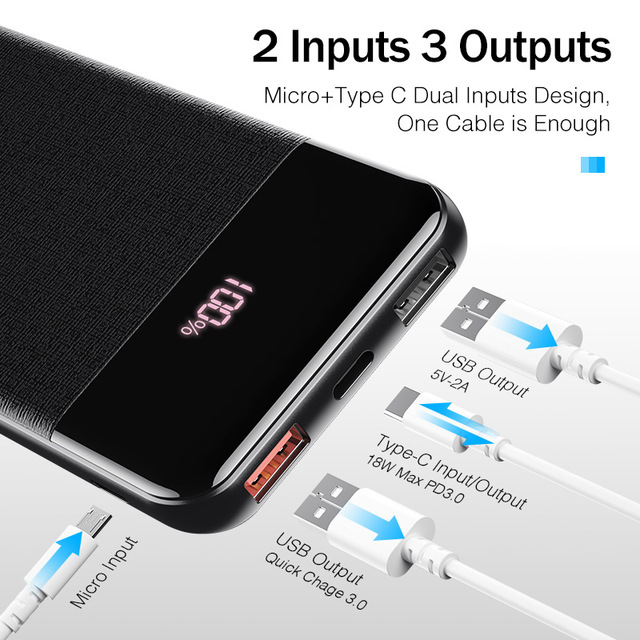 YKZ QC 3.0 batterie externe 10000mAh LED batterie Portable batterie Portable PD Charge rapide 12V Powerbank pour iPhone Xiao mi mi