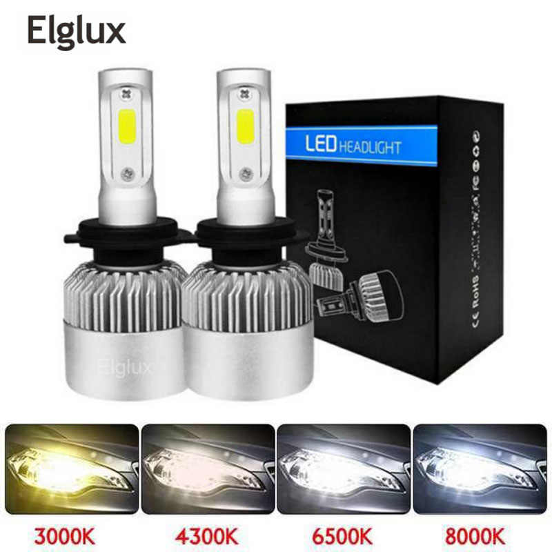 Super bright Auto Car H8 H11 H7 H4 H1 LED Headlights 6500K Cool white 72W 8000LM COB Bulbs Diodes Automobiles Parts Lamp