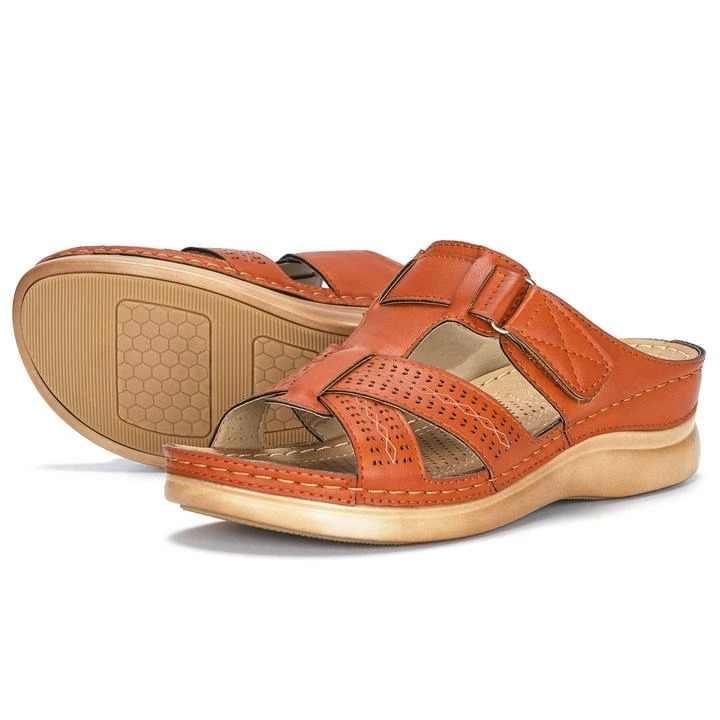 Litthing Dropship kadın yaz burnu açık rahat sandalet süper yumuşak Premium ortopedik düşük topuklu yürüyüş sandalet düzeltici yastık
