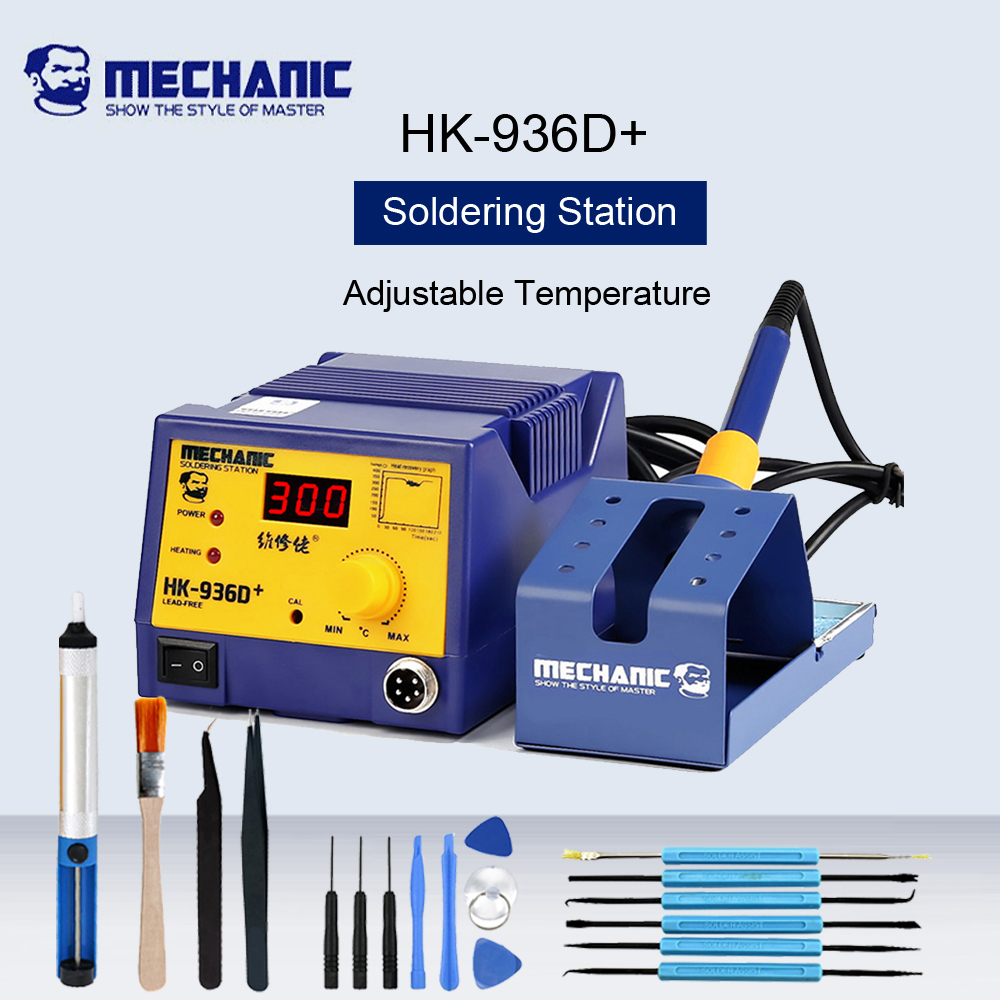 MECHANIC HK-<font><b>936D</b></font>+ 60W <font><b>Soldering</b></font> Iron Desoldering <font><b>Soldering</b></font> <font><b>Station</b></font> Constant Temperature <font><b>Digital</b></font> Display Electric Welding Machine image
