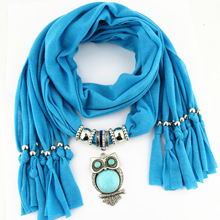 New pendant scarf, turquoise owl womens shawl, scarf