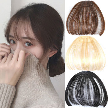 AIYEE High Temperature Fiber Synthetic Hair Neat Front False Fringe Thin Blunt Clip In Bangs Piece on
