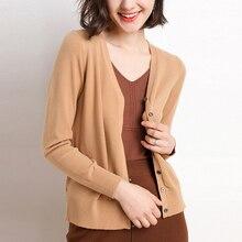 цена Sweater Women Korean Fashion Wool Knitted Cardigan Sweaters Women Jackets Autumn Women Thermal Sweater Jacket OL V Neck Sweaters