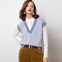 2019 V neck Cashmere Vest Women's Casual Loose Sweater Stitching Plaid Vest Short Fashion Knit Vest Autumn Winter Cashmere Vest
