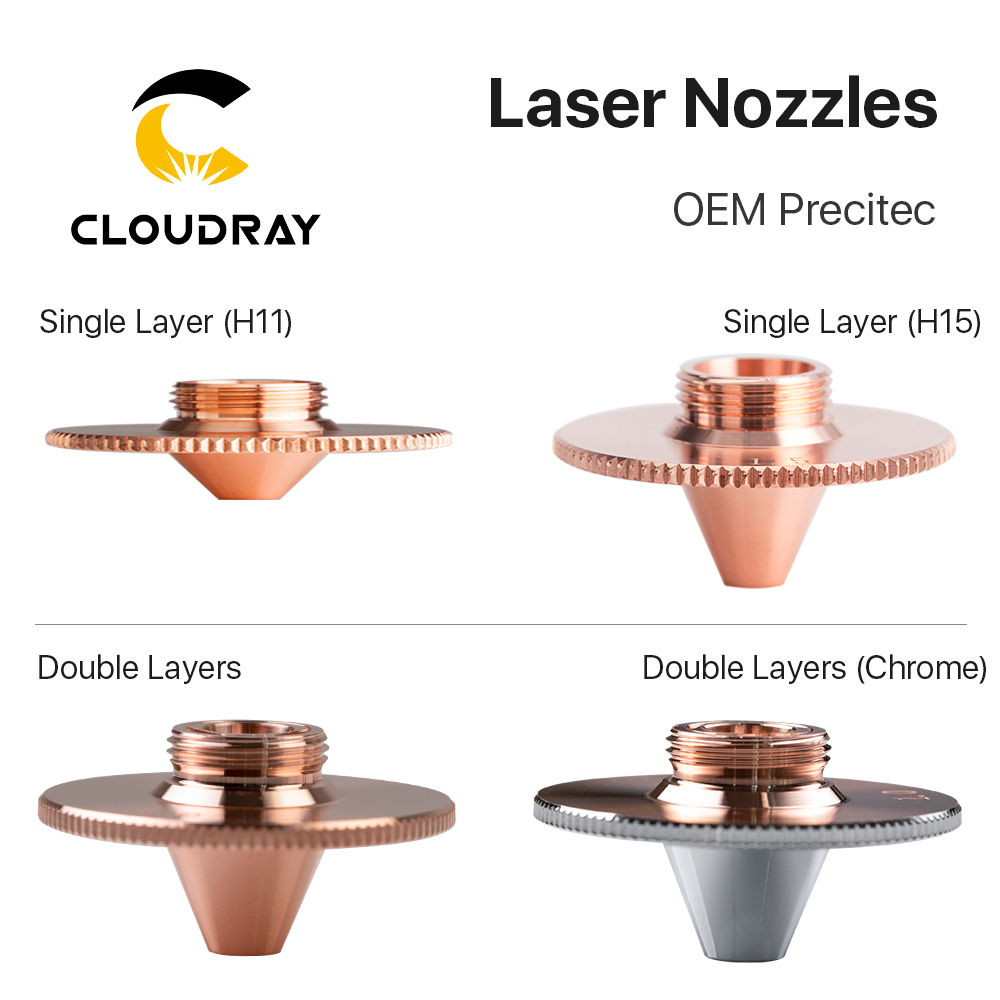 Cloudray Precitec Bulge Laser Nozzles Single Layer Chrome-Plating Double Layers Caliber 0.8-4.0 D28 H11 H15 M11 For Cutting Head