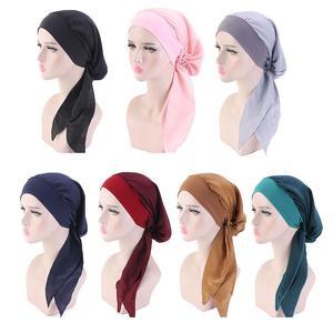 New Summer Womens Muslim Hijab Fashion Solid Color Wrap Head For Women Turbantes Saudi Female Caps Arabia Elastic Scarf Hat A5K0