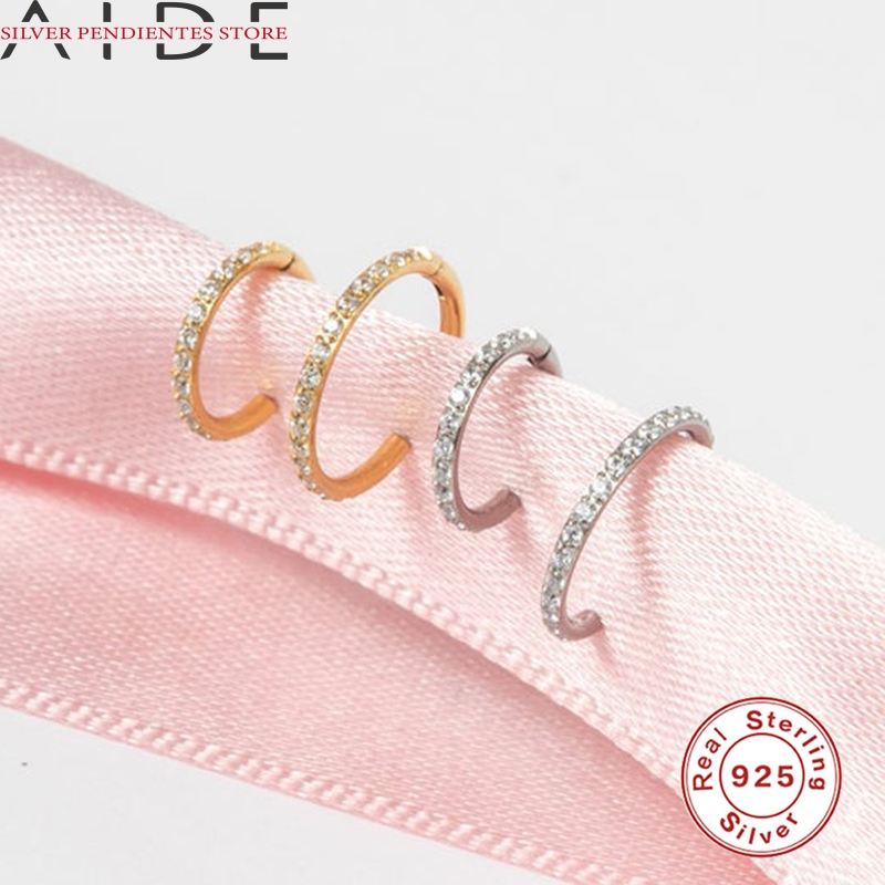 AIDE 6mm/8mm CZ Crystal Piercing Ear Tragus Cartilage Jewelry 925 Silver Nose Hoop Nose Ring 2020 Body Jewelry Wholesale-4