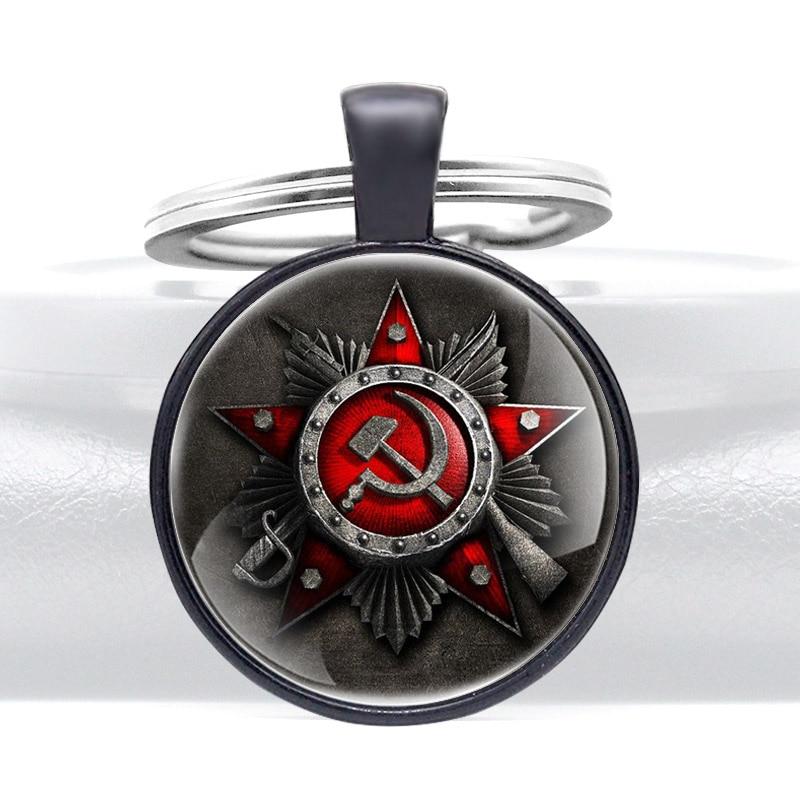 Classic Black CCCP Sickle Hammer Pendant Key Rings Charm Men Women USSR Force Key Chains