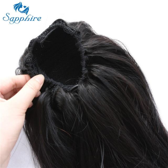 Sapphire/прямые конский хвостик, 100% натуральные волосы на шнурке, хвостик с клипсами, для женщин, бразильские Реми, натуральные волосы для наращ...