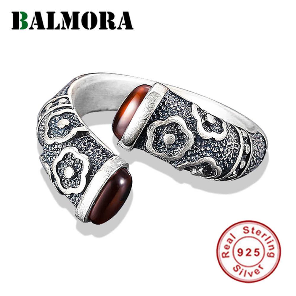 BALMORA Real 925 Sterling Silver Vintage ดอกไม้แกะสลักแหวนเปิดสำหรับสตรีของขวัญสีแดงโกเมน Punk แฟชั่นเครื่องประดับ