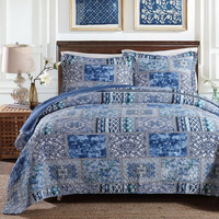 Blue Quilted 100%Cotton Patchwork Bedspread Coverlet Quilt Set 3PCS Full or Queen Size Quilted Bed Cover Blanket with Pillowcase
