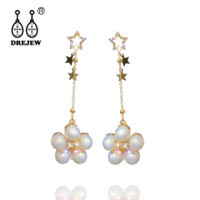 купить DREJEW Gold Star Pearl Rhinestone Crystal Statement Earrings Sets 2019 Tassel 925 Drop Earrings for Women Wedding Jewelry HE6421 онлайн