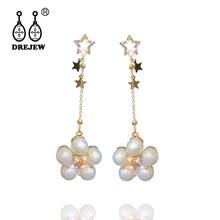 DREJEW Gold Star Pearl Rhinestone Crystal Statement Earrings Sets 2019 Tassel 925 Drop for Women Wedding Jewelry HE6421