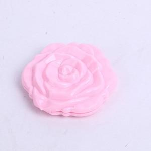 Image 4 - Hot Mini Fiore di Rosa Mano Specchio Nero Pieghevole Specchio Rotondo Specchio Portatile Ragazze Specchio Della Tasca del Doppio Lato di Viaggio Make Up Specchio