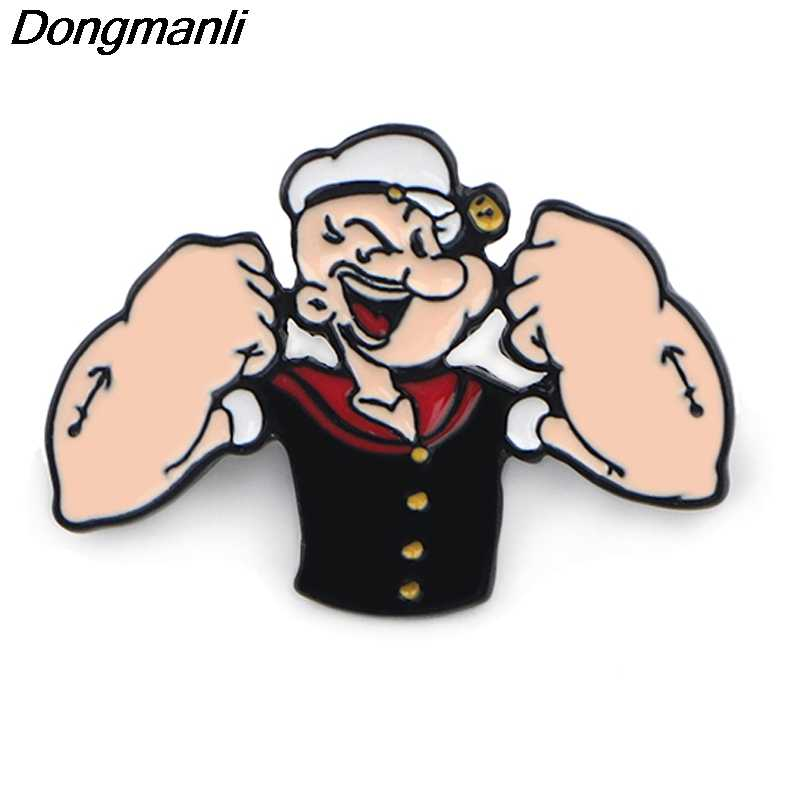 P3931 Dongmanli Anime Jewelry Popeye Metal Enamel Pins and Brooches for Lapel Pin Backpack Bags Badge Funny Gifts