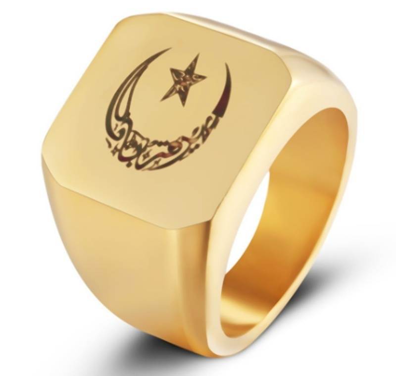 Новинка мужское религиозное мусульманское высококачественное металлическое кольцо Луна Звезда кольцо ювелирные изделия
