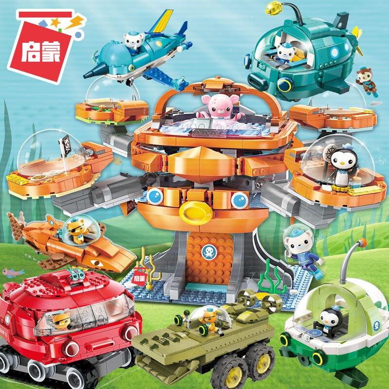 Octonauts bloco de construção octo-pod octood playset & cracas kwazii peso inkling 698 peças tijolos educativos brinquedo para bo