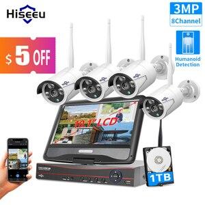 """Image 1 - Hiseeu 8CH 3MP كاميرا مراقبة لاسلكية طقم CCTV مع 10.1 """"رصد ل 1536P 1080P 2MP في الهواء الطلق نظام الكاميرا الأمن مجموعة"""