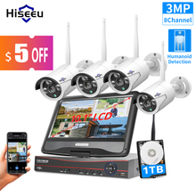 """Hiseeu 8CH 3MP Wireless Surveillance Camera CCTV Kit with 10.1"""" Monitor for 1536P 1080P 2MP Outdoor Security Camera System Set"""