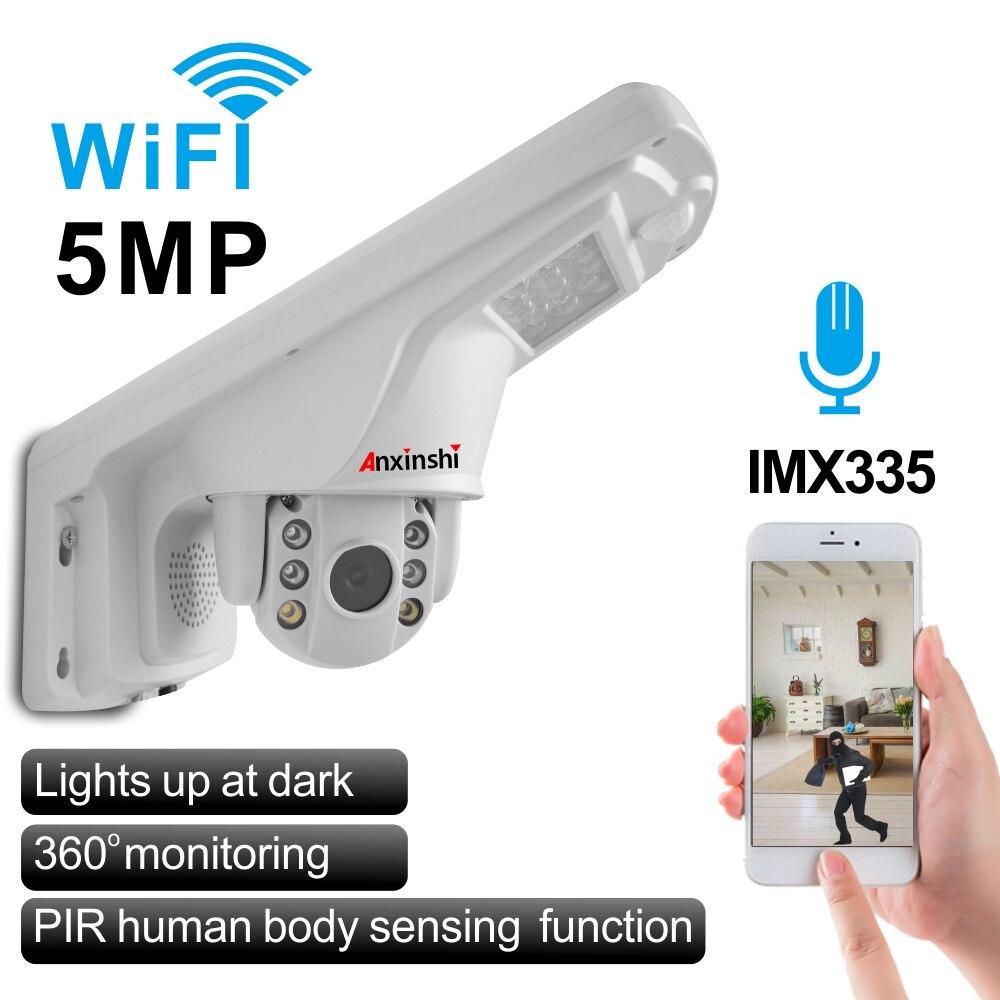 Mini caméra dôme WIFI PTZ 1080P/5MP caméra IP de sécurité sans fil extérieure avec lampadaire Audio micro haut-parleur P2P ONVIF caméra