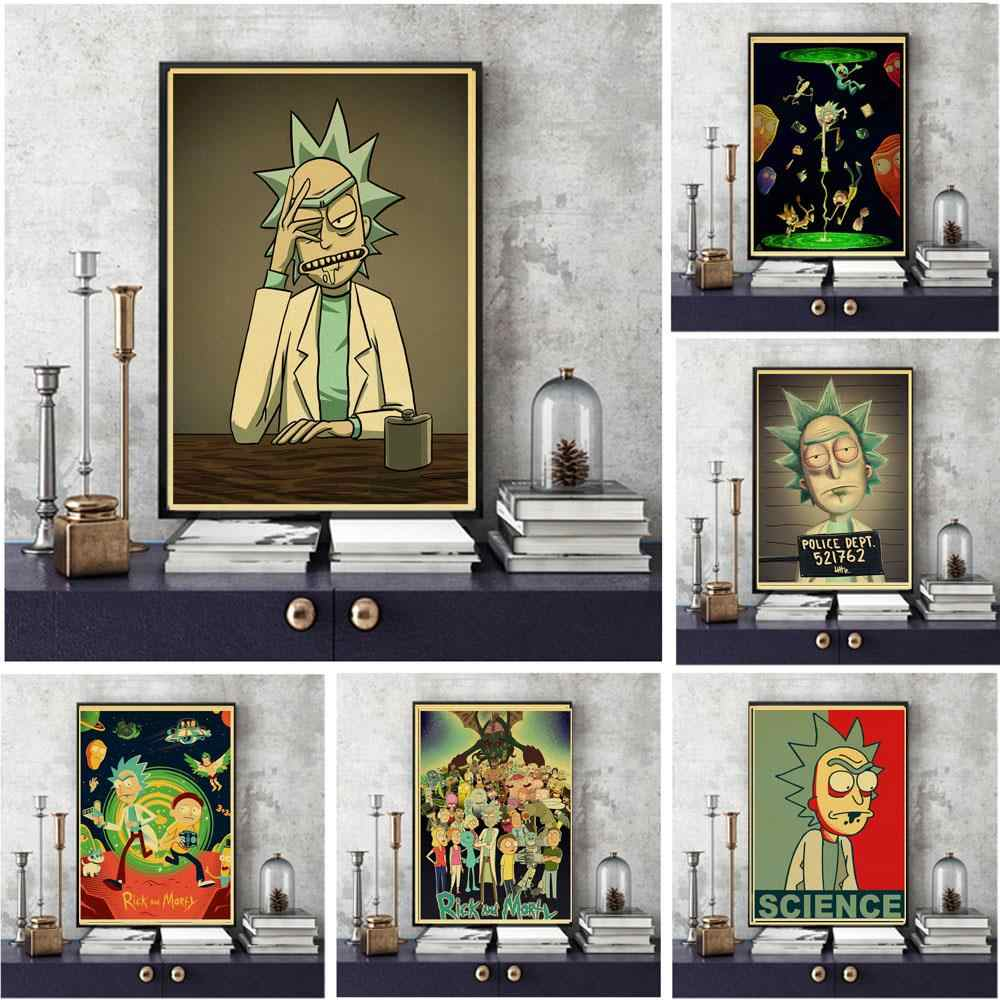 Rick and Morty Anime retro Poster Vintage Print Cartoon Picture for Living Room Wall Decoration Gift
