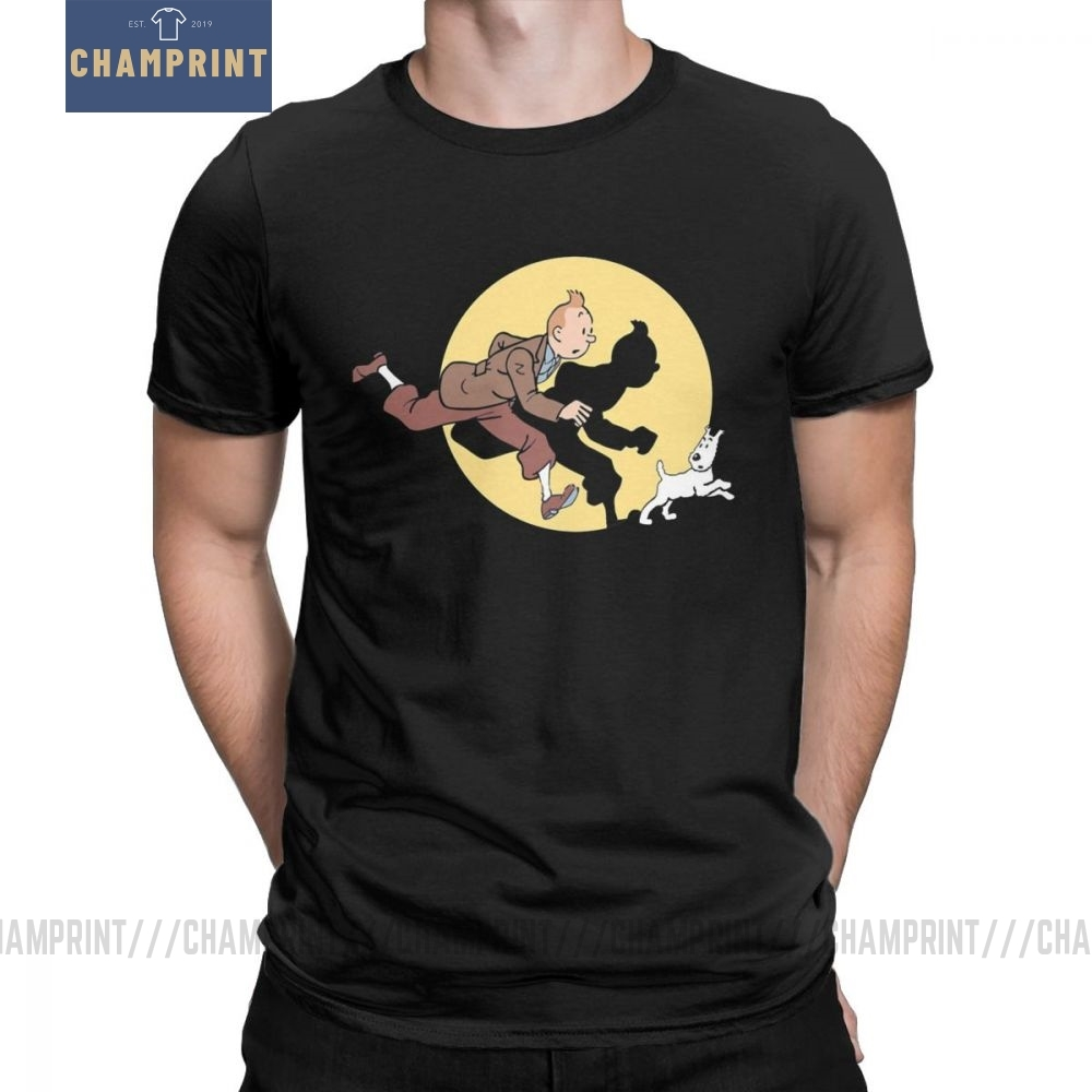 Tin Tin The Movie The Adventures Of Tintin T Shirt For Men Pure Cotton Vintage T-Shirt Crew Neck Tee Short Sleeve Clothes Summer
