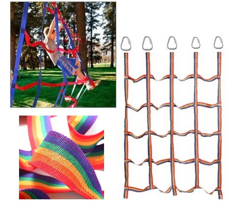 Children Outdoor Games Rainbow Climbing Net Jungle Gym Rope Wooden Ladder Toy Sports Rope Safety Fitness Equipment