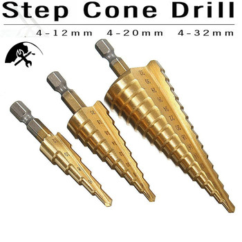 цена на Step Drill Bit Pagoda Shape Hole Cutter 4-12/20/32mm HSS Steel Cone Drill Bit Set