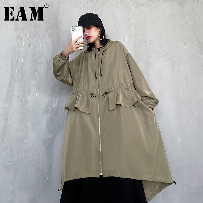 [EAM] Women Ruffles Asymmetrical Big Size Trench New Stand Collar Long Sleeve Loose Fit Windbreaker Fashion Spring 2020 1R800