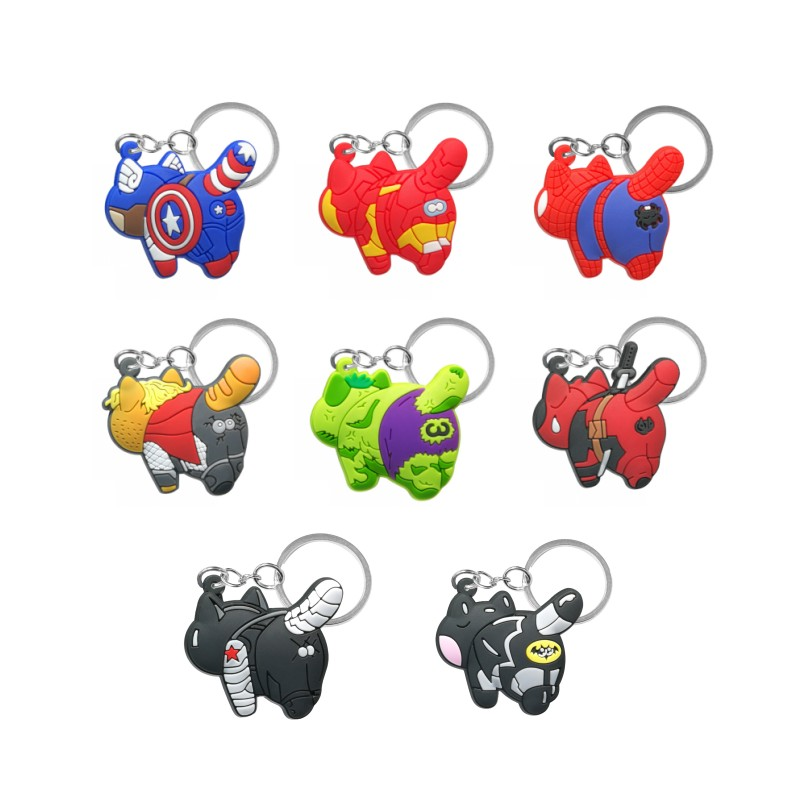 1pcs Avenger Back Cats PVC Keychain Key Ring Superhero Key Chain Key Holder Fashion Accessories Trinket Kids Gift