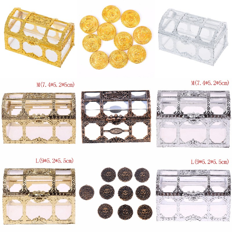 Plastic Container Storage Box Transparent Pirate Anime For Pirate Crystal Gem Treasure Box Toy Figures